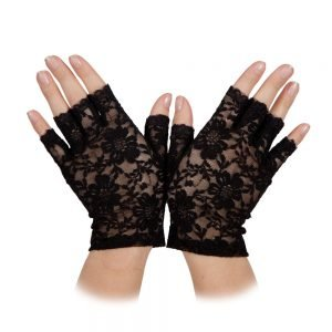 Ladies Short Lace Fingerless Gloves