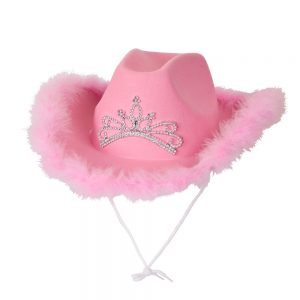 Pink Cowgirl Hat w/ Marabou Feather