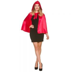 Deluxe Red Satin Hooded Cape - 60cm