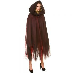 Deluxe Layered Hooded Cape - Deep Red