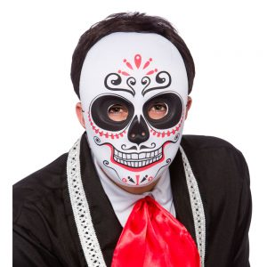 Day of The Dead Mask / Full Face Bk / Red