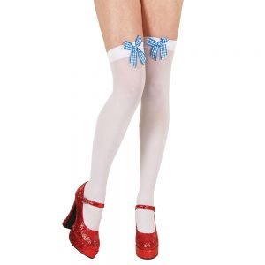Thigh Highs with Blue Gingham Bow