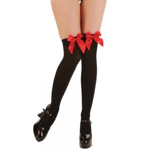 Thigh Highs with Red Satin Bow